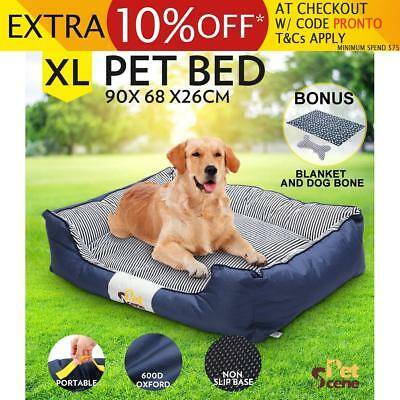 Pet Bed Mattress Soft Washable with Blanket & Dog Bone Canvas fabric XL