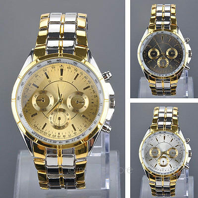 Men Watches Luxury Stainless Steel Analog Quartz Date Sport Dial Wrist Watch Hot