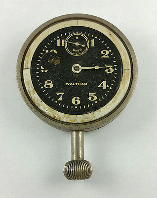 ANTIQUE WALTHAM 8 DAY WIND INDICATOR CAR CLOCK – PARTS or FIX – GOOD BALANCE