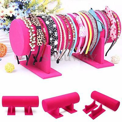 Rose Velvet PVC Hair Band Headband Holder Retail Shop Display Jewelry Stand Rack