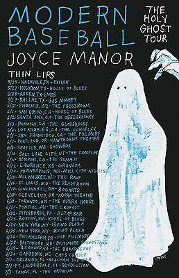 """Modern Baseball/joyce Manor """"holy Ghost Tour"""" 2016 North American Concert Poster"""