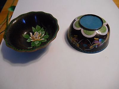 2 antique vintage old cloisonne bowls chinese asian japanese ? flower dragon