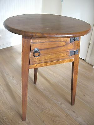 Old antique Edwardian Hall or side Oak Cricket Table with Gothic cupboard
