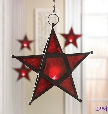 Lot of 12 Hanging Red Star Candle Lanterns Use Indoors or Outdoors  Iron & Glass