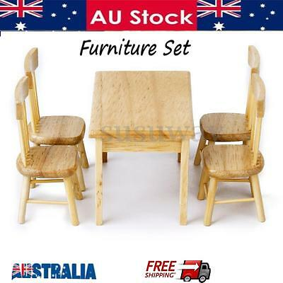 1:12 Doll house Mini Miniature Dining Room Table 4 Chair Wooden Furniture Set