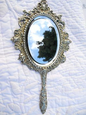 FRENCH ANTIQUE BRONZE or BRASS LOUIS XV STYLE MIRROR