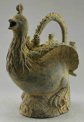 Chinese Collectible Decorated Old Handwork Bronze Carved Dragon Phoenix Tea Pot