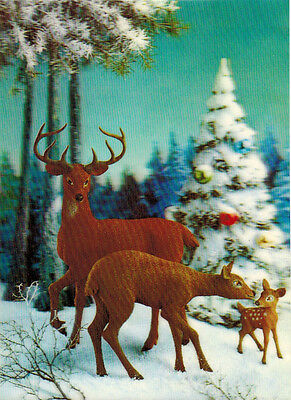 Deer Family In Forest 3-D Tri-Dimensional Card