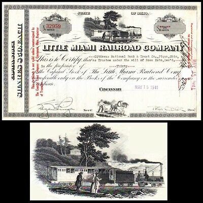 Little Miami Railroad Company OH 1941 Stock Certificate