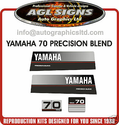1989 YAMAHA 70 HP OUTBOARD DECAL SET, Precision Blend