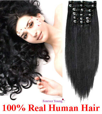 Jet Black Clip In Human Hair Extension Full Head #1 Double Wefted