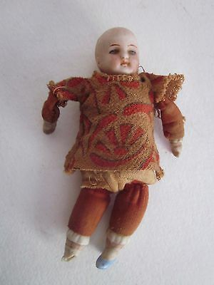 """Vintage Small 5"""" Bisque Head Doll Sawdust Filled"""
