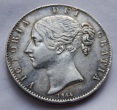 Crown Victoria Young Head 1844 Star Stops VF