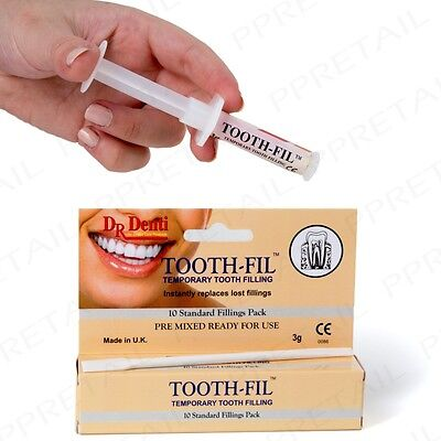 GENUINE Dr DENTI TOOTH FIL TEMPORARY FILLING Dental Hole Repair Kit Instant Care