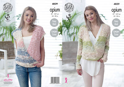 Easy Knit Wrap Jumper & Top Ladies Knitting Pattern King Cole Opium Womens 4829