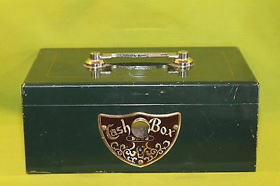Vintage All Metal Cash Box with Wooden Insert Neat Box!
