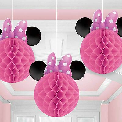 3 Disney's Minnie Mouse Pink Children's Party Hanging Honeycomb Decorations