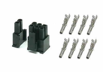 6 or 8 pin (6+2) Female PCI-E connector + 8 pins for PSU to Graphics card