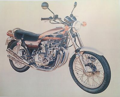 KAWASAKI Z1 900 ( 1973 ) technical / cross sectioned picture / poster ( RARE )