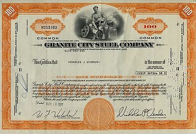 Granite City Steel Company Common Stock Certificate 100 Shares 1971