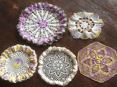 5 Vintage Lace Crochet Doilies, Yellow and Lavender, 3D, ruffled