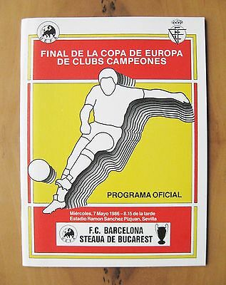 1986 European Cup Final BARCELONA v STEAUA BUCHAREST Exc Cond Football Programme