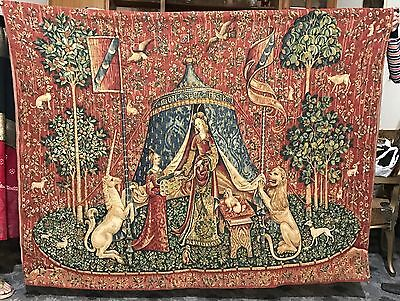 """Antique Large French Aubusson Style Wall Hanging Tapestry 70"""" x 52"""""""