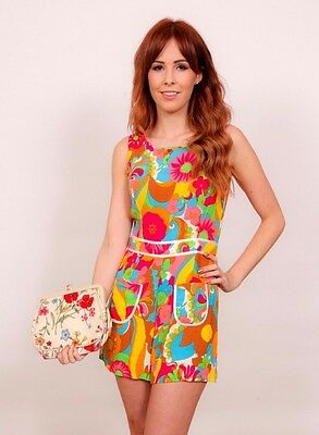 60s 70s style Multi coloured statement print flower power psychedelic playsuit
