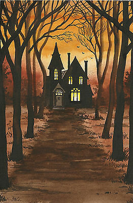 4X6 Print Of Halloween Painting Ryta Haunted House Vintage Style Manor Folk Art