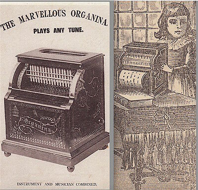 Organina Antique Organette 1800s American Automatic Organ Music Advertising Card