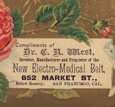 Dr West's Electro-Medical Belt 1880's Electricity Sex Cure-All Advertising Card