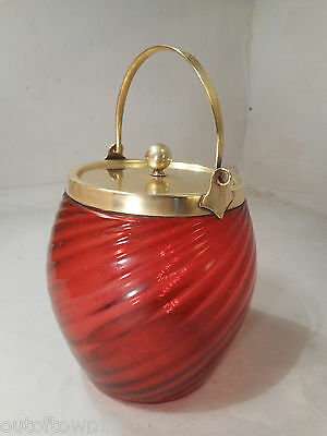 Antique Cranberry Glass Biscuit Barrel    ref 2278