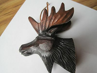 """5"""" CARVED WOOD WOODEN MOOSE Ornament FIGURE SCULPTURE Hanging Tree Holiday Cabin"""