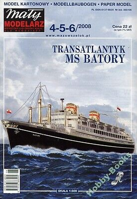"Polish Ocean Liner MS ""BATORY"" - Paper / Card Model Scale 1/300 Maly Modelarz"
