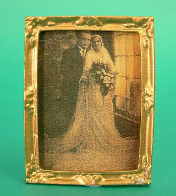 Dolls House Miniature Picture of a Bride & Groom : Wedding Picture in 12th scale