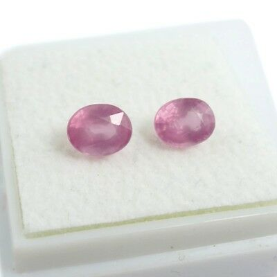 1.42 ct. Unbeh. Paar ovale Light Pink 5.7 x 4.3 mm Tansania Spinelle