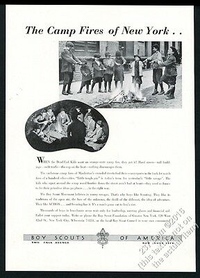 1939 Boy Scouts of America New York City street fire vs campfire photo print ad