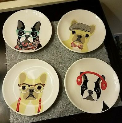 "Magenta HIPSTER DAWGS French Bulldog 6"" Appetizer Plates - Set of 4 - NIB"
