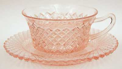 Anchor Hocking MISS AMERICA PINK Cup & Saucer 6132
