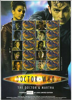 Official 10th Doctor Who & Martha Royal Mail Stamp Sheet - Ltd Edition - BC-119