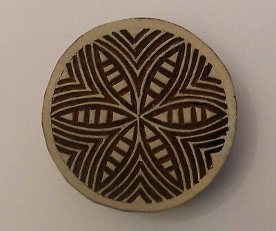 Round Shaped 5.4cm Indian Hand Carved Wooden Printing Block Stamp (RD14)
