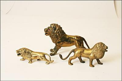 3 VINTAGE STANDING BRASS LION STATUE FIGURINE LOT figure hollywood regency decor