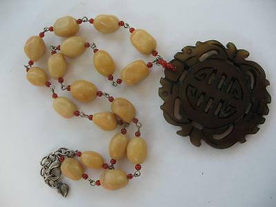 Vintage Asian Chinese Large Handcarved Longevity Coin Jade Pendant Necklace