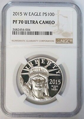2015 W $100 Statue of Liberty American Eagle NGC PF70 Ultra Cameo 1 oz Platinum