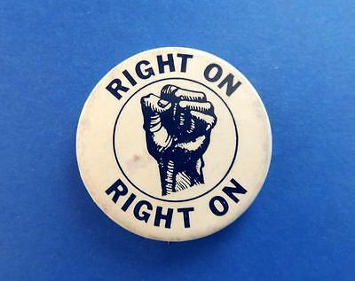 RIGHT ON Black Panthers Power Clenched Fist Civil Rights Cause Pin Button