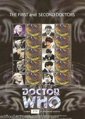 Official 1st & 2nd Doctor Who A4 Royal Mail Stamp Sheet - Ltd Edition - BC-213