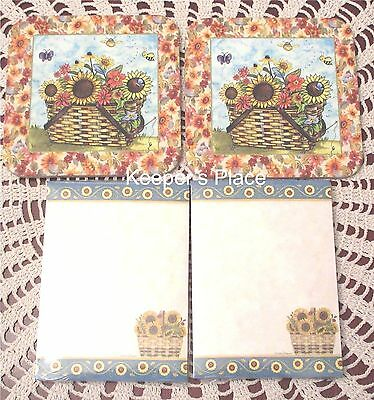 Set Of 2 Longaberger Basket Coasters + 2 Note Pads Sunflowers Floral New