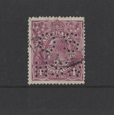 1921 Australia KGV 4d violet SG 073 OS NSW perfin fine used