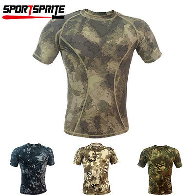 Hunting Army Short-Sleeve Men's Camo Camouflage Shirt Tight Tops A-tacs S-XXL