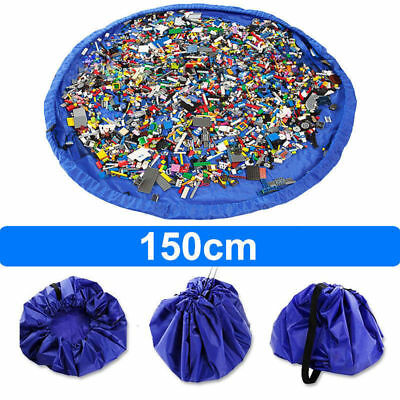 Blue Kids Play Mat Bag Portable Toy Storage Organizer XL 150cm Lego Toys BrikBag